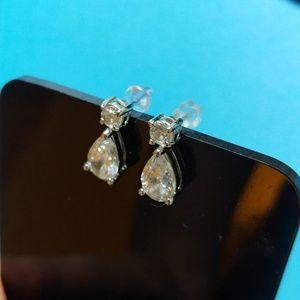 Sterling silver CZ teardrop earrings